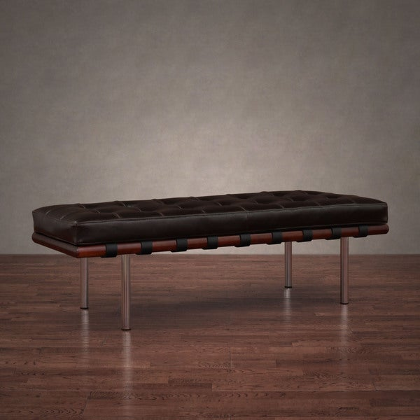 "Andalucia Leather/ Walnut Wood 50"" Bench"