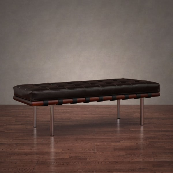 Andalucia Tufted Brown Leather and Walnut Wood 50-inch Bench