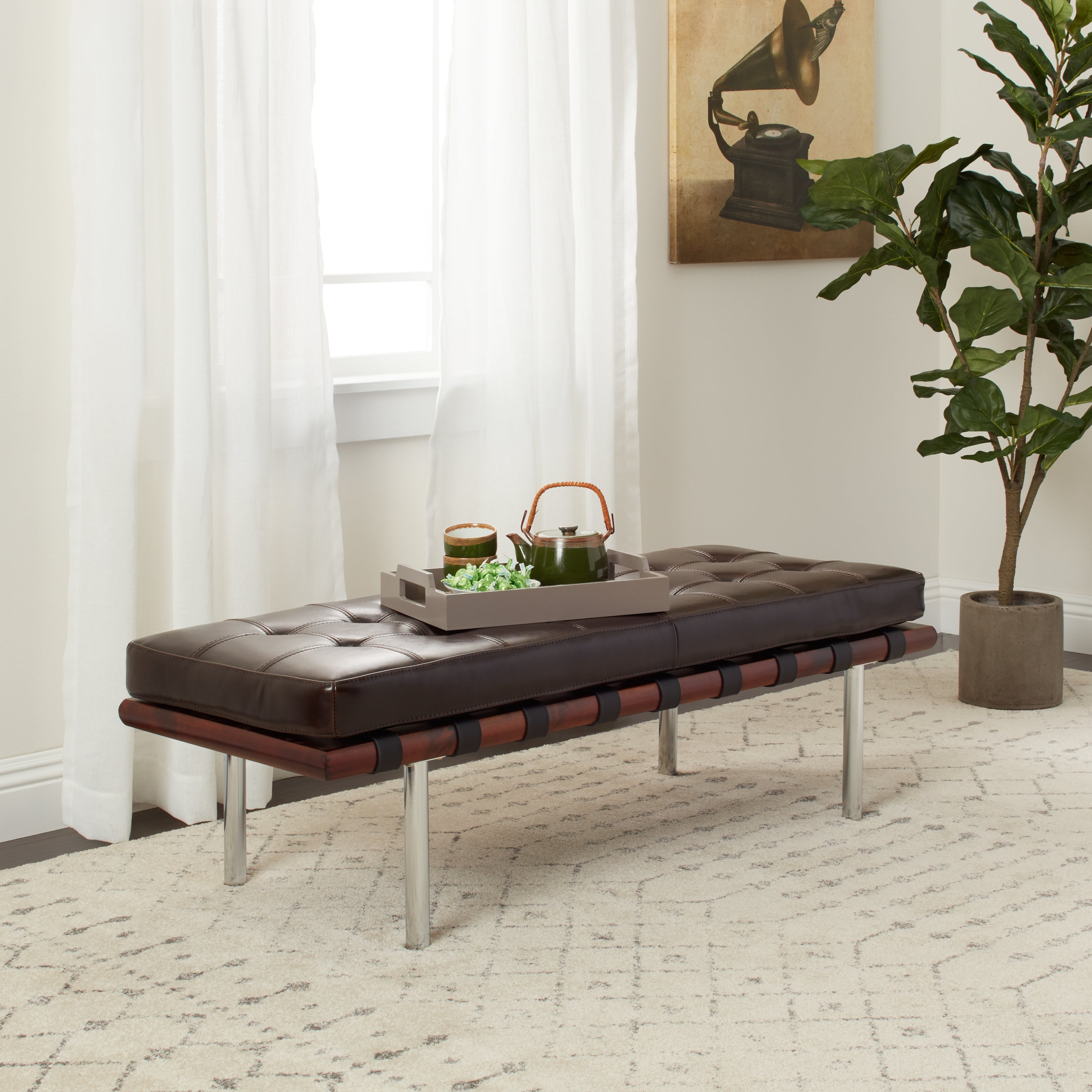 Andalucia Brown Leather and Walnut Wood Bench (Bonded Lea...