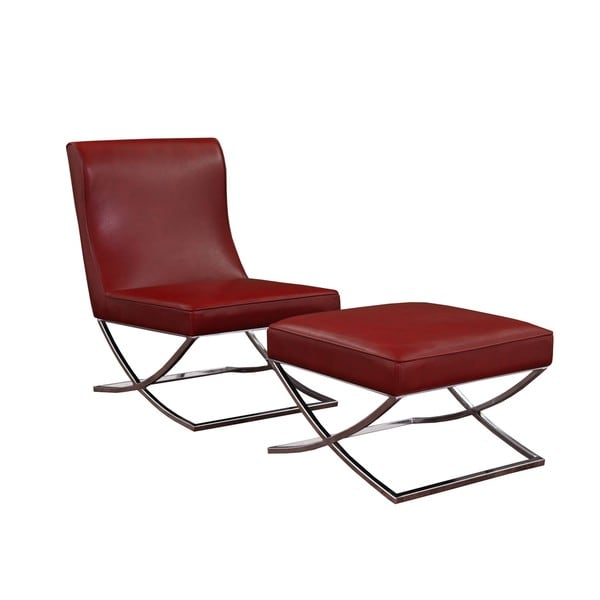 Lovely Milano Burnt Red Leather Chair Lounger   Free Shipping Today    Overstock.com   11990500