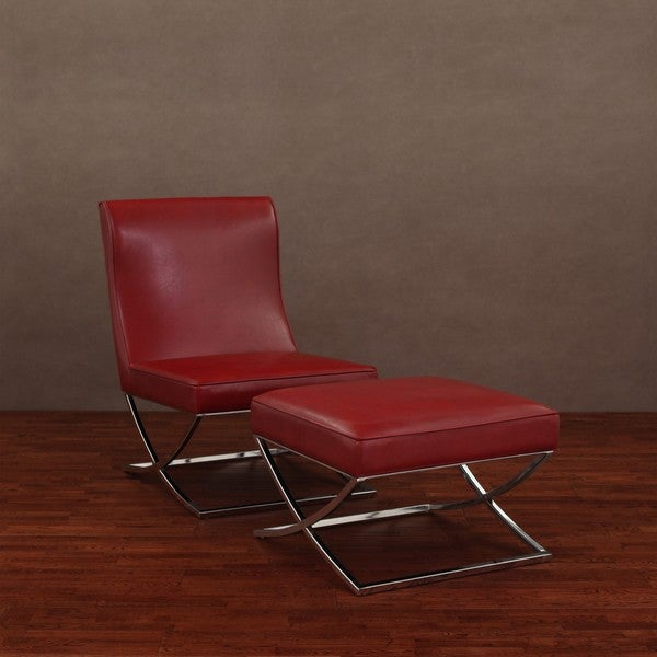 Milano Burnt Red Leather Chair Lounger   Free Shipping Today    Overstock.com   11990500