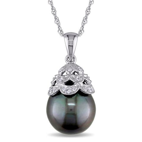 Miadora 10k White Gold Tahitian Pearl and Diamond Necklace