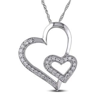 Miadora 10k White Gold 1/4ct TDW Diamond Hearts Necklace
