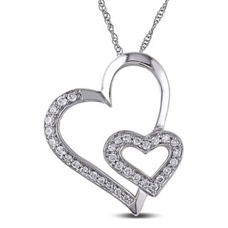 Miadora 10k White Gold 1/4ct TDW Diamond Hearts Necklace