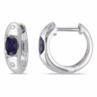 Miadora 10k White Gold Sapphire and Diamond Birthstone Hoop Earrings