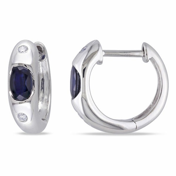 Miadora 10k White Gold Sapphire and Diamond Birthstone Hoop Earrings