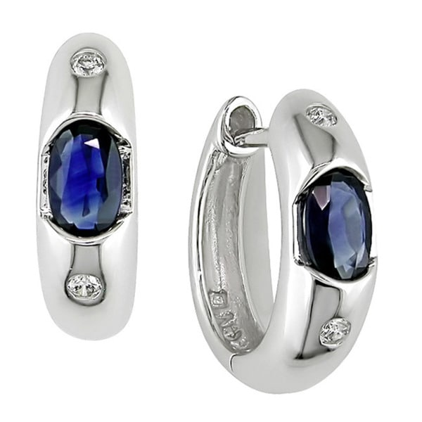 Miadora 10k White Gold Sapphire and Diamond Earrings
