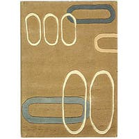 Safavieh Handmade Soho Ellipses Modern Abstract Beige Wool Rug - 2' x 3'