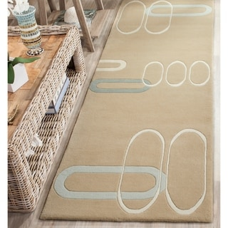 Safavieh Handmade Soho Ellipses Modern Abstract Beige Wool Runner Rug (2' 6 x 12')