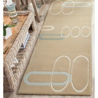 "Safavieh Handmade Soho Ellipses Modern Abstract Beige Wool Runner Rug - 2'6"" x 12'"