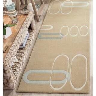 Safavieh Handmade Soho Ellipses Modern Abstract Beige Wool Runner Rug (2' 6 x 8')