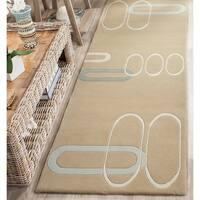 "Safavieh Handmade Soho Ellipses Modern Abstract Beige Wool Runner Rug - 2'6"" x 8'"