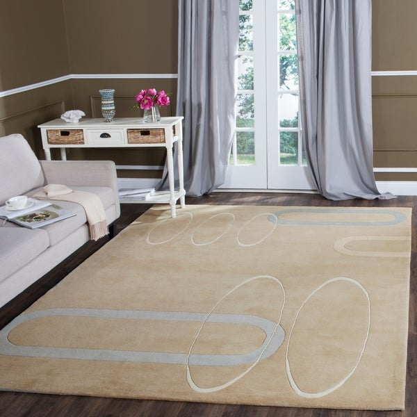 Safavieh Handmade Soho Ellipses Modern Abstract Beige Wool Rug - 9'6 x 13'6