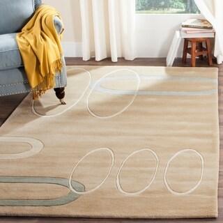 Safavieh Handmade Soho Ellipses Modern Abstract Beige Wool Rug (3' 6 x 5' 6)