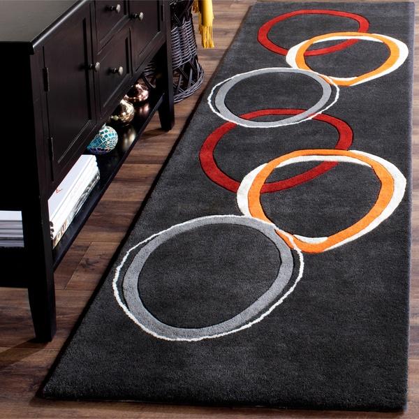 Safavieh Handmade Soho Circles Modern Abstract Charcoal Grey Wool Runner Rug (2' 6 x 10')