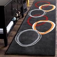 "Safavieh Handmade Soho Circles Charcoal Grey N. Z. Wool Runner - 2'6"" x 8'"