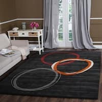 Safavieh Handmade Soho Circles Charcoal Grey N. Z. Wool Rug - 3'6' x 5'6'