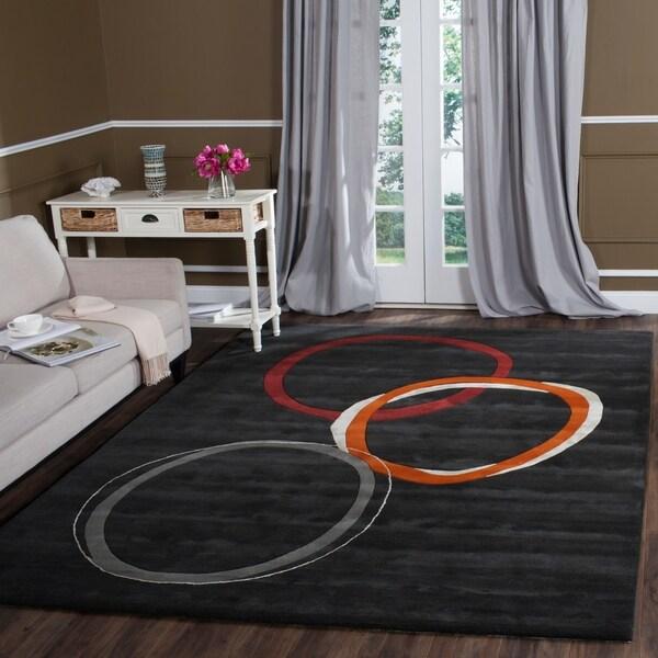 "Safavieh Handmade Soho Circles Modern Abstract Charcoal Grey Wool Rug - 7'6"" x 9'6"""