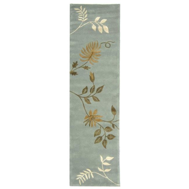 """Safavieh Handmade Soho Twigs Light Blue N. Z. Wool Runner (2'6 x 12') - 2'6"""" x 12' Runner"""