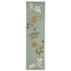 Safavieh Handmade Soho Twigs Light Blue N. Z. Wool Runner (2'6 x 12')