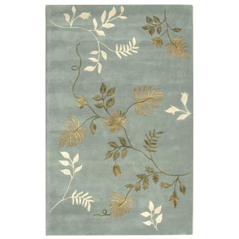 Safavieh Handmade Soho Twigs Light Blue New Zealand Wool Rug - 3'6' x 5'6'