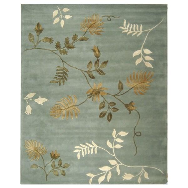 "Safavieh Handmade Soho Twigs Light Blue New Zealand Wool Rug - 8'3"" x 11'"