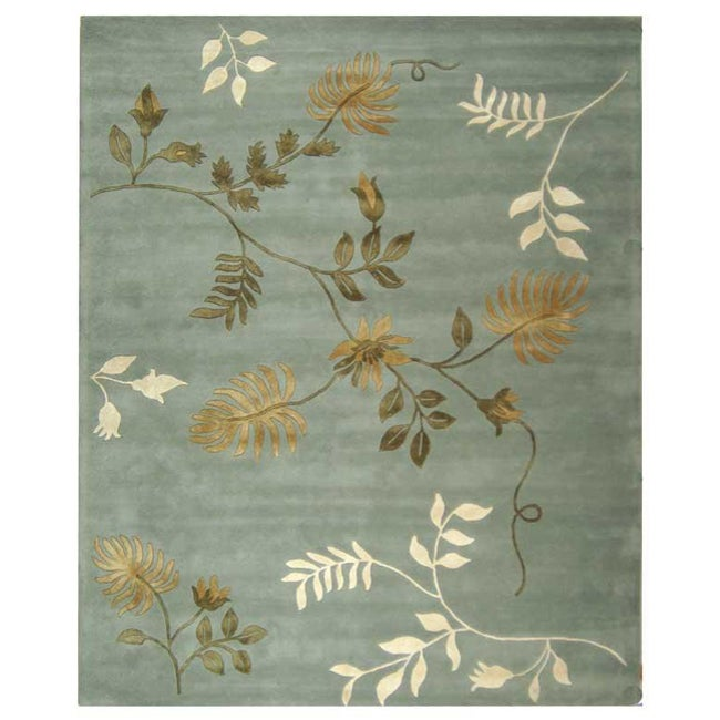 Safavieh Handmade Soho Twigs Light Blue New Zealand Wool Rug (7'6 x 9'6)