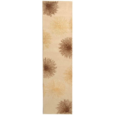 """Safavieh Handmade Soho Burst Beige New Zealand Wool Runner (2'6 x 14') - 2'6"""" x 14'"""