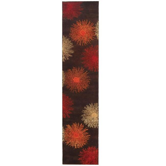 Safavieh Handmade Soho Burst Brown New Zealand Wool Runner (2'6 x 14')