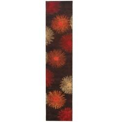 """Safavieh Handmade Soho Burst Brown New Zealand Wool Runner - 2'6"""" x 14'"""