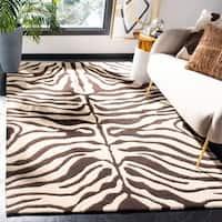 """Safavieh Handmade Soho Zebra Print Beige/Charcoal N. Z. Wool Rug - 8'3"""" x 11'"""