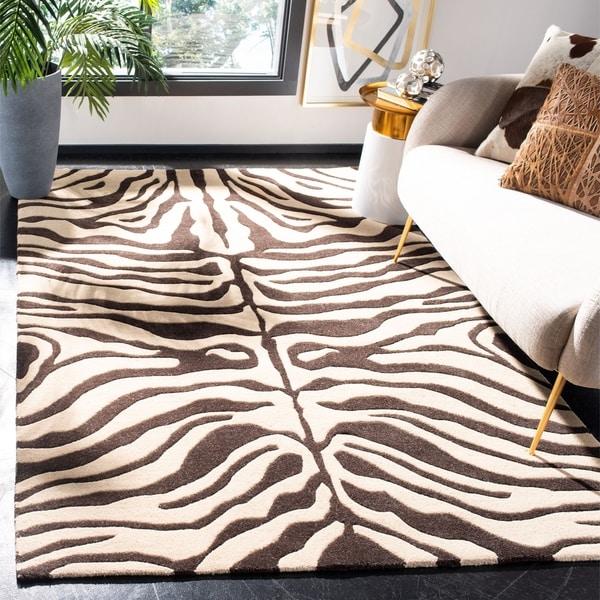 Shop Safavieh Handmade Soho Zebra Print Beige Charcoal N
