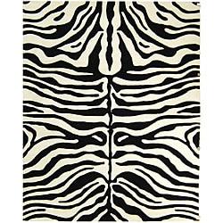 Safavieh Handmade Soho Zebra Print Charcoal/ Beige N. Z. Wool Rug - 7'6 x 9'6 - Thumbnail 0