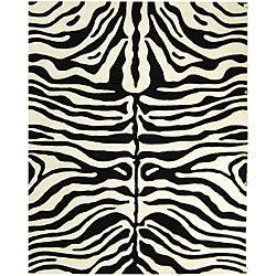 Safavieh Handmade Soho Zebra Print Black/ Ivory N. Z. Wool Rug (7'6 x 9'6)
