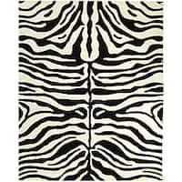 Safavieh Handmade Soho Zebra Print Charcoal/ Beige N. Z. Wool Rug - 7'6 x 9'6