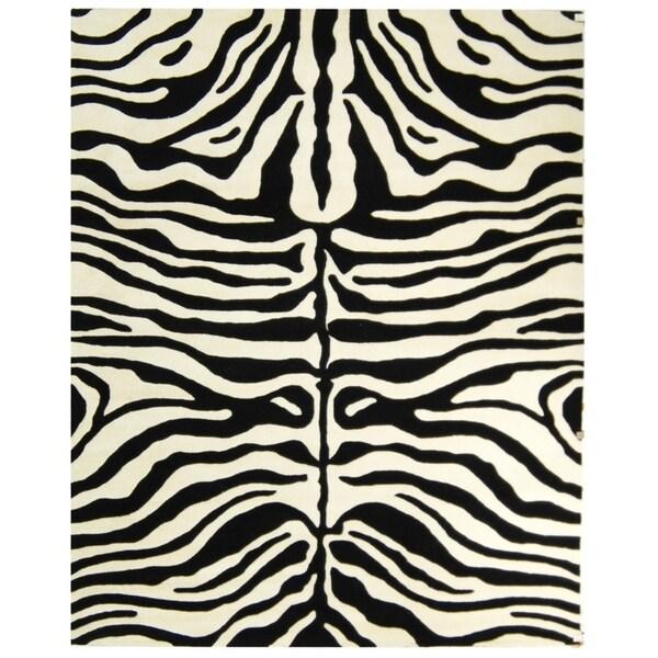 """Safavieh Handmade Soho Zebra Print Charcoal/ Beige N. Z. Wool Rug - 7'-6"""" x 9'-6"""""""