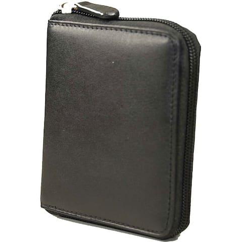 468f7e21fc Castello Romano Series RFID Zip-around Black Soft Nappa Italian Leather  Men's Wallet