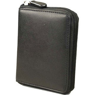 Castello Romano Series RFID Zip-around Black Soft Nappa Italian Leather Men's Wallet