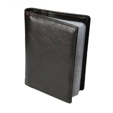 Romano Series Italian Nappa Leather Black/Red Bi-fold Cardholder
