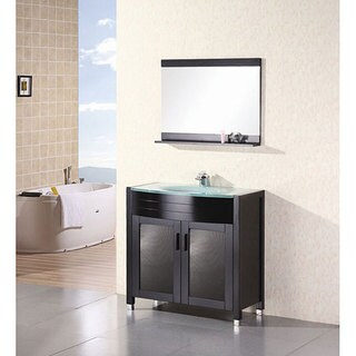 Design Element Contemporary Bathroom Vanity with Waterfall Faucet - Green