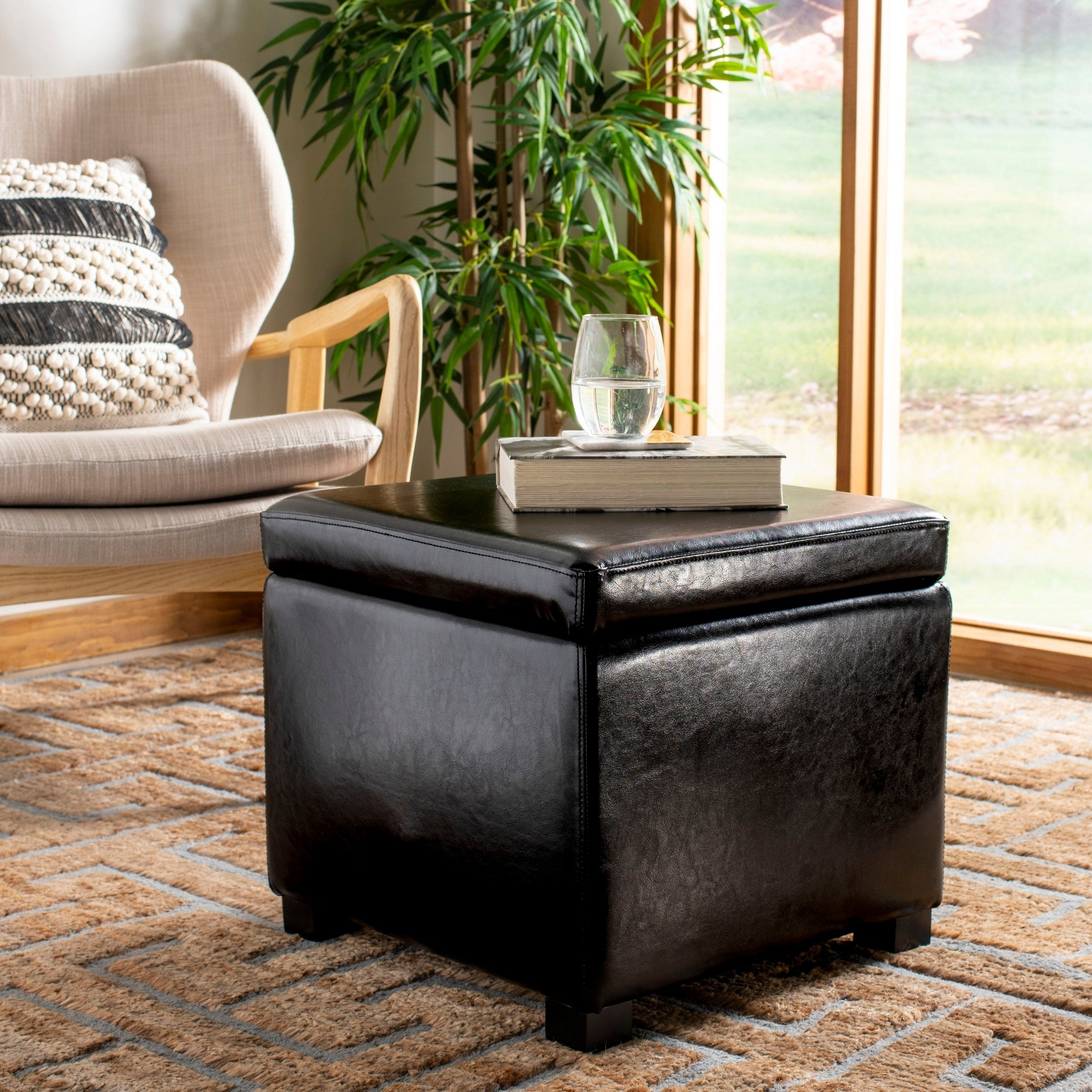 Awe Inspiring Safavieh Jonathan Storage Flip Top Black Ottoman Andrewgaddart Wooden Chair Designs For Living Room Andrewgaddartcom
