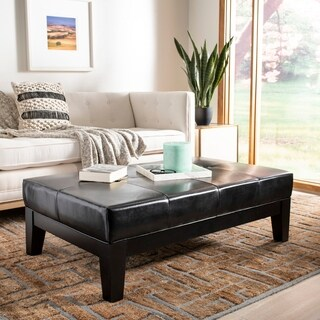 Safavieh Black Beech Wood and Bicast Leather Cocktail Ottoman