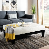 Safavieh Off-white Beech Wood and Bicast Leather Cocktail Ottoman
