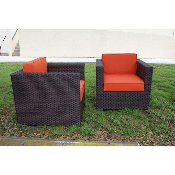 Atlantic Patio Furniture Reviews: Shop Atlantic Modena Chair Set With Orange Cushions