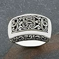 Handmade Sterling Silver Wide 'Cawi' Ring (Indonesia)