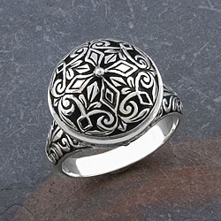 Handmade Floral Sterling Silver Round 'Cawi' Ring (Indonesia)