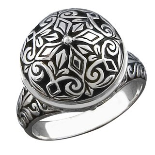 Handmade Sterling Silver Floral Round Cawi Ring (Indonesia)