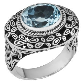 Handmade Sterling Silver Blue Topaz 'Cawi' Ring (Indonesia)