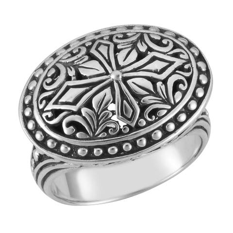 Handmade Sterling Silver Floral Oval Cawi Ring (Bali)
