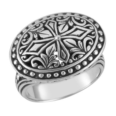 Handmade Sterling Silver Floral Oval Cawi Ring (Indonesia)